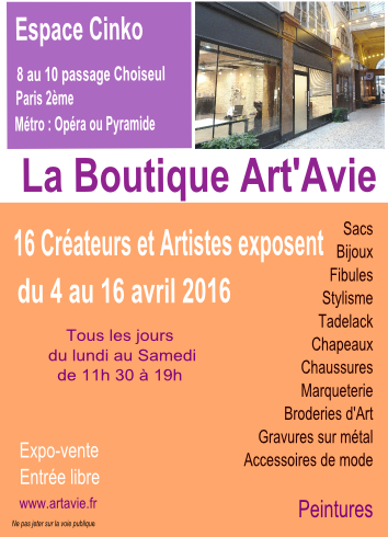 Invitation BOUTIQUE ARTAVIE AVRIL 2016